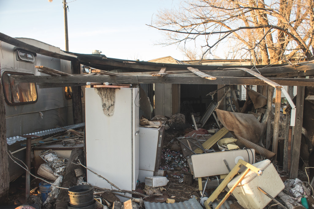 Another trailer home, which appeared to be partially burnt down.
